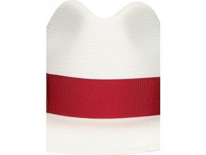 Dámský panamský klobouk s červenou stuhou - velká krempa od Borsalino - Wide-brimmed Fine Panama