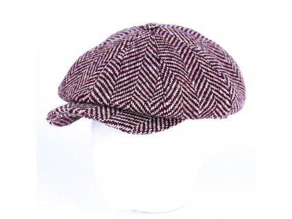 Zimní bordó tvídová bekovka - Carlsbad Hat Co.