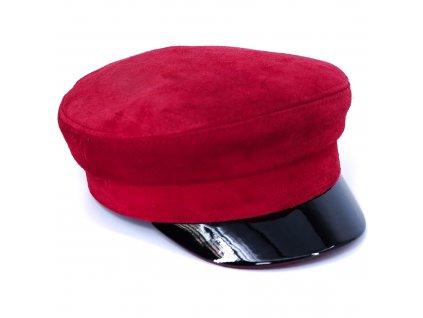 Dámská červená semišová kapitanka s černým lakovaným kšiltem