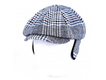Zimní kostkovaná vlněná bekovka - Carlsbad Hat Co. - podšívka z umělé kožešiny, ušní klapky