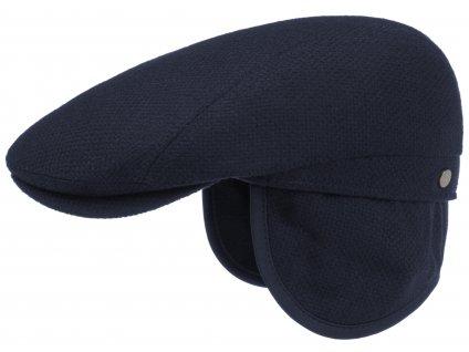 Modrá pánská bekovka Lierys (ušní klapky) - vlna a kašmír - 6130102