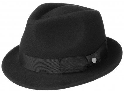 Trilby klobouk vlněný Lierys 1238112 černý s černou stuhou