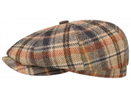 Kostkovaná bekovka od Stetson - hnědá kostka - Hatteras Lambswool Check - 6840330