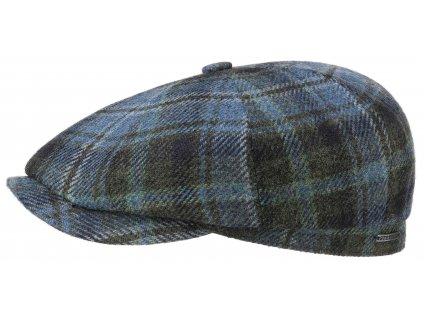 Kostkovaná bekovka od Stetson - modrá kostka - Hatteras Lambswool Check - 6840330