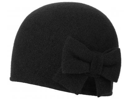 Vlněná dámská  černá čepice Barascon od Stetson s mašličkou  - 8199304