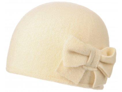 Vlněná dámská béžová čepice Barascon od Stetson s mašličkou  - 8199304