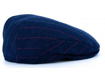 Pánská vlněná zimní modrá bekovka pruhovaná - Driver cap Personality 281344