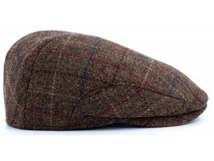 Pánská tvídová kostkovaná hnědá bekovka (ušní klapky) - Driver cap Personality - 291419