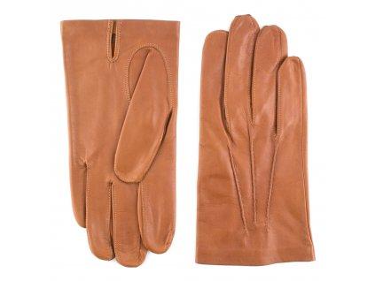 Pánské cognac kožené rukavice bez podšívky - BOHEMIA GLOVES - 811-0327-1240