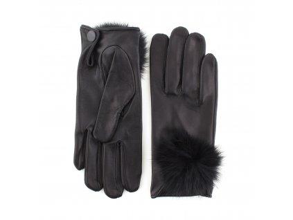 Dámské černé kožené rukavice s bambulkou bez podšívky - BOHEMIA GLOVES - 813–7101