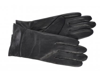 Dámské černé kožené rukavice vlněná podšívka - BOHEMIA GLOVES - 814-2284