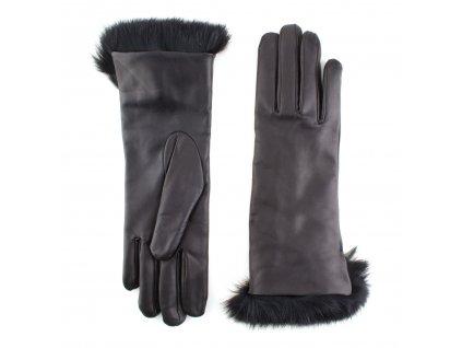 Dámské černé kožené rukavice s kožíškem, vlněná podšívka - BOHEMIA GLOVES - 814-4705