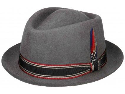 Plstěný klobouk s malou krempou - Stetson šedý  klobouk - 1338109