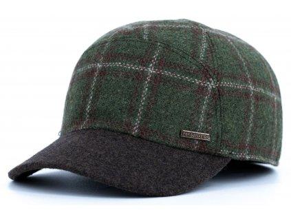 Kšiltovka zimní zelená kostkovaná vlněná kostkovaná s hnědým kšiltem (ušní klapky) - Personality