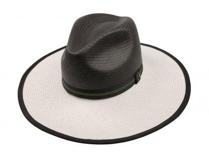 Dvoubarevný letní slaměný dámský klobouk Tonak - 35025 - černobílý klobouk