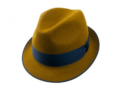 Plstěný Trilby klobouk Tonak 11376/12 - khaki s modrou stuhou