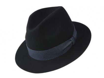 Plstěný černý klobouk Tonak  - velice jemná a tenká plsť zdobený modrou rypsovou stuhou - 12242/16