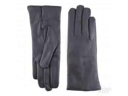 Dámské černé kožené rukavice vlněná podšívka - BOHEMIA GLOVES - 814-0292