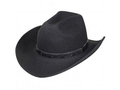 Westernový černý klobouk s koženým řemínkem