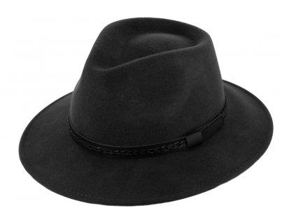 Cestovní klobouk vlněný od Fiebig - černý s koženou stuhou - širák