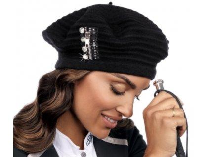 Černý baret s ozdobou, bez podšívky, zdobený zipem a kamínky