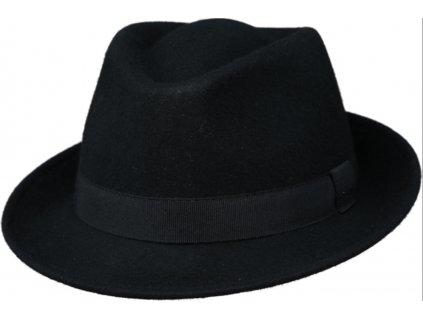 Klasický černý trilby klobouk vlněný Fiebig  - černý s černou stuhou