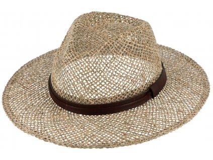 Slaměný klobouk z mořské trávy s koženou stuhou - Fedora
