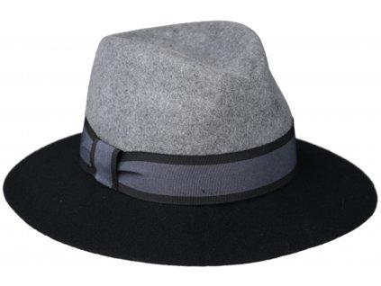 Dvoubarevný dámský klobouk Fedora - šedočerná