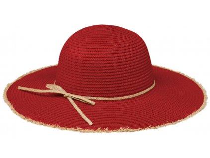 Klasický červený dámský slaměný klobouk Fiebig - Brim Hat Base Point