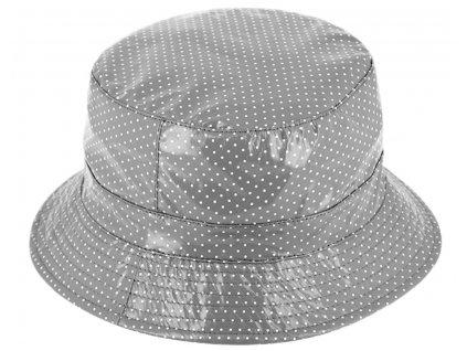 Dámský nepromokavý klobouk - šedý tečkovaný - Bucket Hat