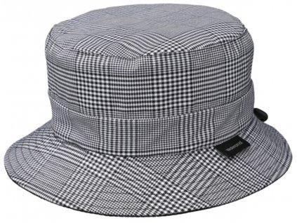 Dámský nepromokavý klobouk - černošedá kostka - Bucket Hat