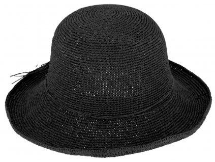 Dámský černý letní slaměný klobouk Cloche