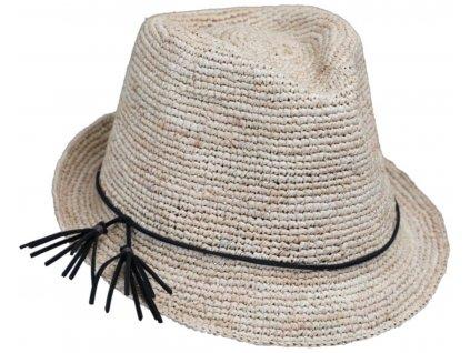 Slaměný béžový dámský letní klobouk Trilby
