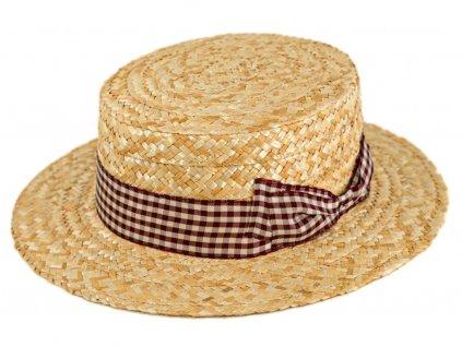 5151 letni slameny boater klobouk zirardak carlsbad hat co nova kolekce s bordo kostkovanou stuhou.png