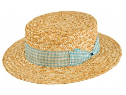5163 letni slameny boater klobouk zirardak carlsbad hat co nova kolekce s tyrkysovou kostkovanou stuhou.png