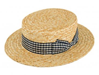 5172 letni slameny boater klobouk zirardak carlsbad hat co nova kolekce s modrou kostkovanou stuhou.png
