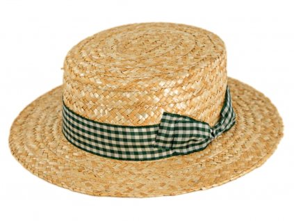 5175 letni slameny boater klobouk zirardak carlsbad hat co nova kolekce s zelenou kostkovanou stuhou.png