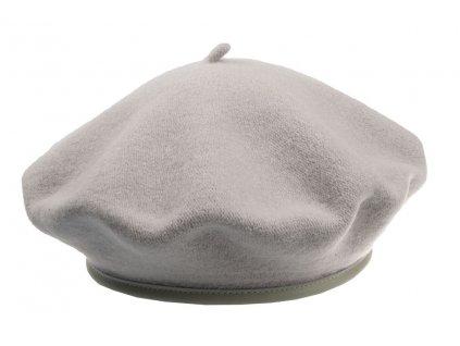 Šedý vlněný baret s koženým lemem - Service Febia Tonak