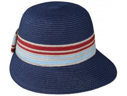 Klasický modrý dámský slaměný klobouk Fiebig Cloche zdobený mašlí