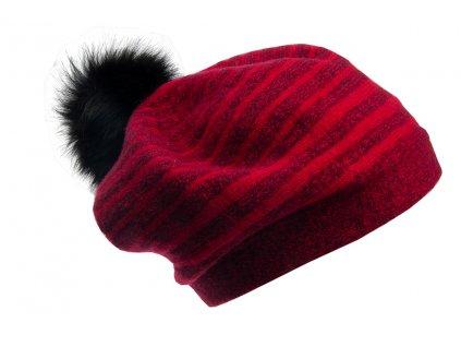 Vlněný baret Froderian Tonak outlet červený - pruhovaný