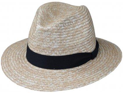 Cestovní slaměný klobouk z pletené slámy s grosgrainovou stuhou