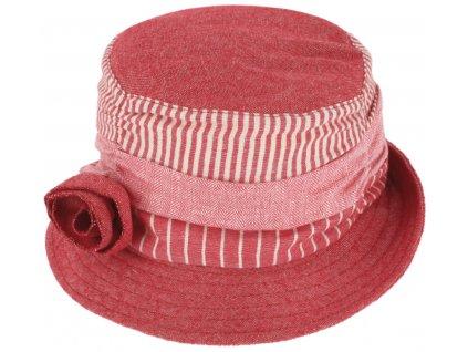 Dámský letní látkový červený klobouček Cloche s malou krempou