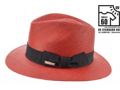 Červený panamský klobouk - ručně pletený  s černou stuhou - Ekvádorská panama Seeberger