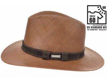 Hnědý panamský klobouk Bogart - ručně pletený  s koženou stuhou - Ekvádorská panama Seeberger