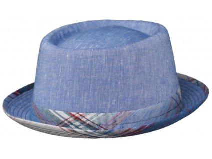 Modrý porkpie klobouk od Fiebig - látkový lněný klobouk