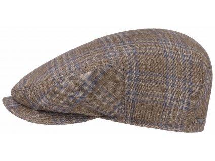 Bekovka Driver cap vlna a hedvábí od Stetson - 6240304 - modrohnědá kostka