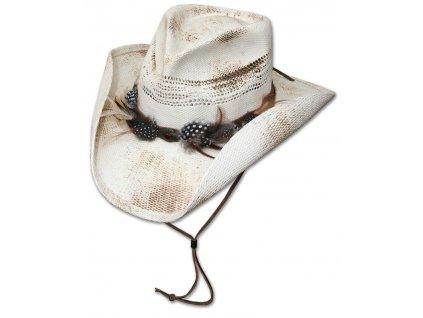 Slaměný western klobouk - Stars and Stripes - Corona se šňůrkou pod bradu