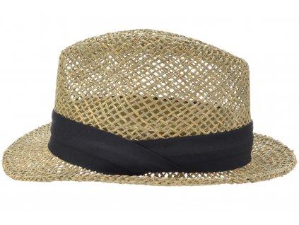 Slaměný klobouk z mořské trávy s černou stuhou - Trilby