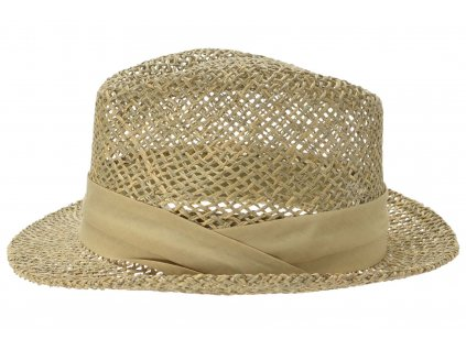 Slaměný klobouk z mořské trávy s béžovou stuhou - Trilby