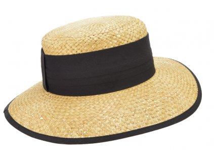 Dámský béžový letní slaměný klobouk s černou stuhou - Seeberger since 1890